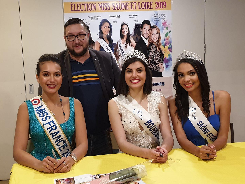 En compagnie de Miss France, Vaimalama Chavez, Coline Touret, Miss Bourgogne 2018 et Miss Saône et Loire 2018, Déborah Pengué